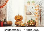 happy halloween carving pumpkin ... | Shutterstock . vector #478858033