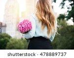 beautiful girl holding bouquet... | Shutterstock . vector #478889737