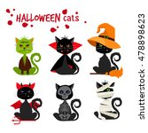 halloween black cat fashion... | Shutterstock .eps vector #478898623