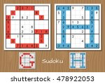 sudoku set with answers. g  h... | Shutterstock . vector #478922053