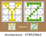 sudoku set with answers. y  z... | Shutterstock . vector #478925863