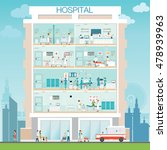 hospital building exterior with ... | Shutterstock .eps vector #478939963