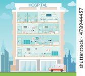 hospital building exterior with ... | Shutterstock .eps vector #478944457
