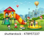 children playing at playground... | Shutterstock .eps vector #478957237