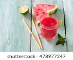 drink of fresh water melon with ... | Shutterstock . vector #478977247