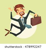 happy man jumping. vector flat... | Shutterstock .eps vector #478992247