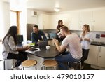 students relaxing in kitchen of ... | Shutterstock . vector #479010157