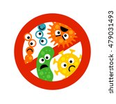 stop bacterium sign with cute... | Shutterstock . vector #479031493