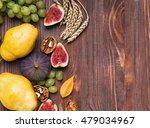 Autumn Fruits On Wooden...
