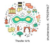 theater arts line art outline... | Shutterstock .eps vector #479039467