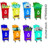 different colored recycle waste ... | Shutterstock .eps vector #479040643