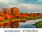 Autumn River Landscape Of...