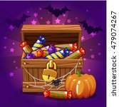 open antique treasure chest... | Shutterstock .eps vector #479074267