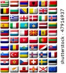 60 flags icons  buttons  of... | Shutterstock . vector #47916937