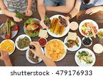 friends eating and drinking on... | Shutterstock . vector #479176933