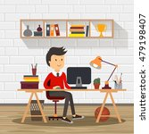 people work in office design... | Shutterstock .eps vector #479198407