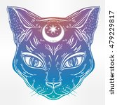 black cat head portrait with... | Shutterstock .eps vector #479229817