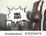 Small photo of Take risks text on speech bubble