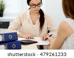 two female accountants counting ... | Shutterstock . vector #479261233