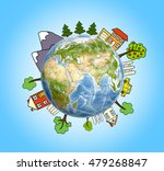 planet earth with drawn... | Shutterstock . vector #479268847