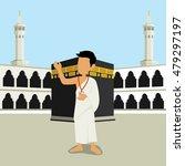 man character wearing ihram... | Shutterstock .eps vector #479297197