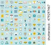set of 100 vector social media... | Shutterstock .eps vector #479297467