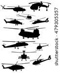set of helicopter silhouettes   ... | Shutterstock .eps vector #479305357