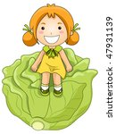 girl on cabbage   vector | Shutterstock .eps vector #47931139
