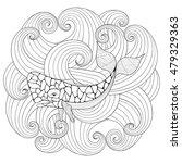 sperm whale in waves  zentangle