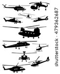 set of helicopter silhouettes   ...