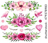 watercolor collection with pink ... | Shutterstock . vector #479378983