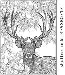coloring page with deer in... | Shutterstock .eps vector #479380717