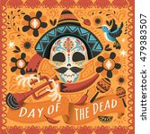 Stock photo day of the dead poster mexican sugar skull with instrument 479383507