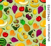 fresh fruits seamless pattern... | Shutterstock .eps vector #479411953