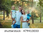happy young family of four... | Shutterstock . vector #479413033