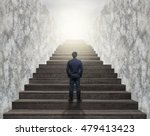 businessman climbed on top of... | Shutterstock . vector #479413423