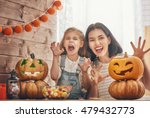 happy halloween  a mother and... | Shutterstock . vector #479432773