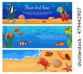 three isolated horizontal sea...   Shutterstock .eps vector #479442907