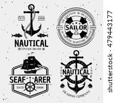 nautical monochrome logos with... | Shutterstock .eps vector #479443177