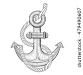anchor with rope. hand drawn... | Shutterstock .eps vector #479490607