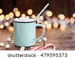 Enamel Cup Of Hot Cocoa With...