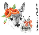 Cute Deer And Rabbit. Pencil...