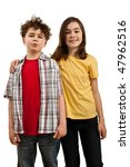 girl and boy standing isolated... | Shutterstock . vector #47962516