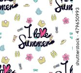 seamless pattern with i love... | Shutterstock .eps vector #479650993