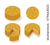 chinese moon cake with floral... | Shutterstock .eps vector #479663023