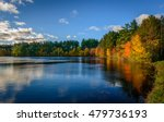 Stock photo forest lake in autumn colorful foliage 479736193