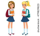 two happy schoolgirls standing...   Shutterstock .eps vector #479829823