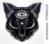 Stock vector black cat head portrait with moon and three eyes third eye is open cat is for halloween tattoo 479830123