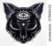 black cat head portrait with...   Shutterstock .eps vector #479830123