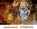 head of krishna with peacock... | Shutterstock . vector #479889463